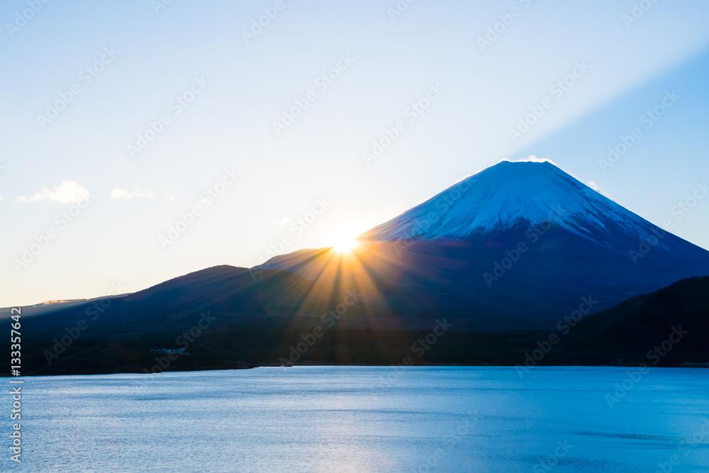 Fototapety, obrazy: 富士山と本栖湖