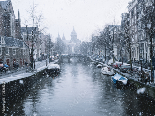 Amsterdam in a snowy day