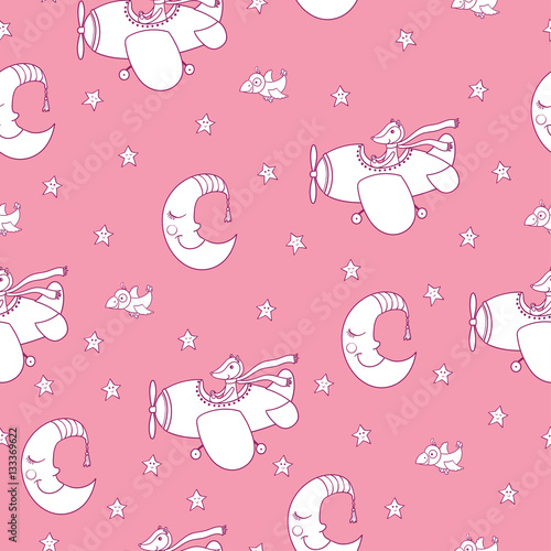 Cotton fabric Awesome seamless patterm with cartoon crescent, stars and cute f