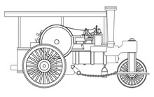Vintage Steam Roller Outline