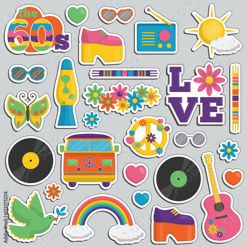 Платно Vintage 1960s hippie style patch sticker set