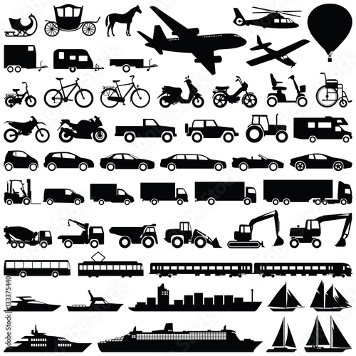 Fotografie, Obraz  Transport icon collection - vector silhouette