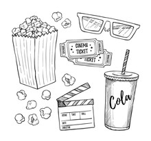 Hand Drawn Vector Illustrations - Cinema Collection. Movie And Film Elements In Sketch Style. Perfect For Invitations, Cards, Posters, Banners, Flyers Etc