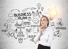 Cheerful Woman And Business Plan Scheme