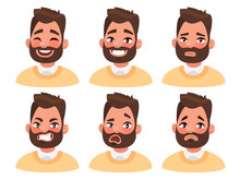 Set Of Male Facial Emotions. Bearded Man Emoji Character With Di