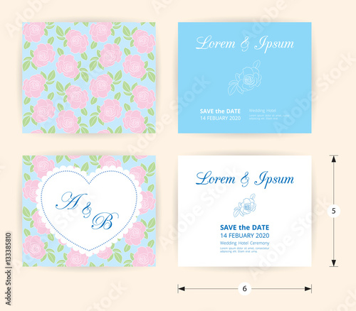 Pink Wedding Card Template Heart Icon White Name Label On Pastel Rose Shape Pattern Blue Background Vintage