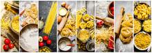 Food Collage Of Italian Pasta .