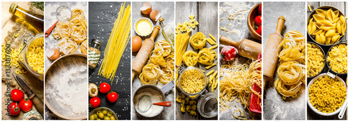 Foto  Food collage of italian pasta .