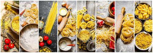 Fotografía  Food collage of italian pasta .