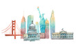 Famous American landmarks travel and tourism waercolor illustration