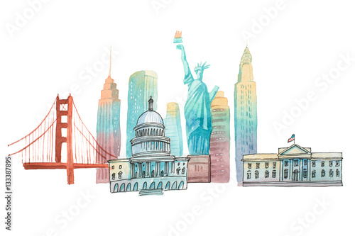 Famous American landmarks travel and tourism waercolor illustration Canvas Print