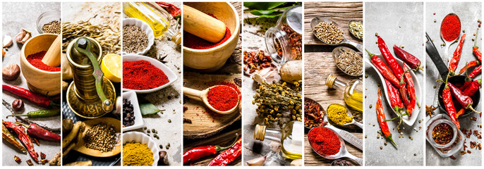 Food collage of herb and sp...