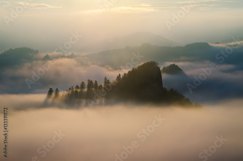Poster Morning with fog Sokolica in clouds