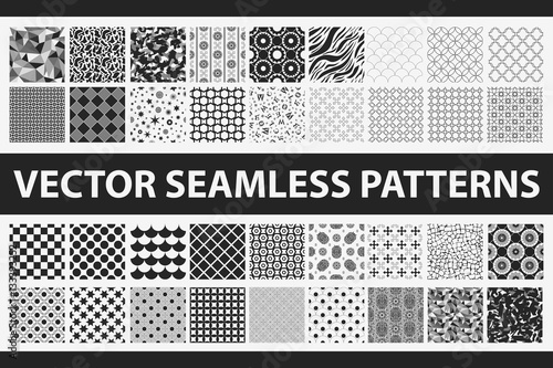 obraz PCV Retro styled vector seamless pattern pack: abstract, vintage, technology and geometric. 36 black and white elements. Vector illustration