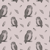 Hand drawn isolated  black white seamless pattern owl fly bird.  - 133393660