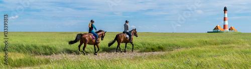 Tuinposter Paardrijden Ritt zum Leuchtturm