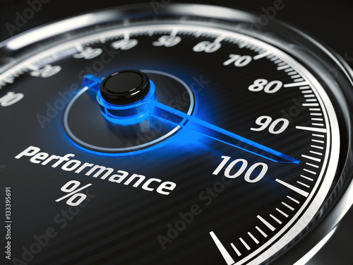 Performance level meter with arrow on 100%, 3d render Wallpaper Mural