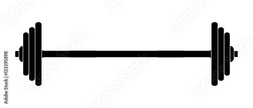 Fotografia silhouette barbell on a white background, vector illustration