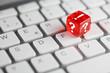 canvas print picture - Rot farbener / roter Würfel auf Tastatur mit FAQ - Frage Antwort