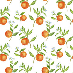 Fototapeta seamless pattern with fruit tree branches with flowers, leaves and oranges