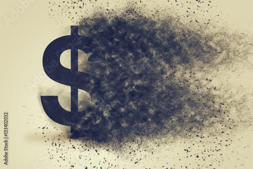 Fotografia, Obraz  Dollar sign exploding and dissolving