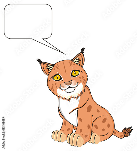 Deurstickers Babykamer animal, cat, lynx, orange, brush, yellow eyes, spots, spotted, zoo, sit, think, sign, clean, callout