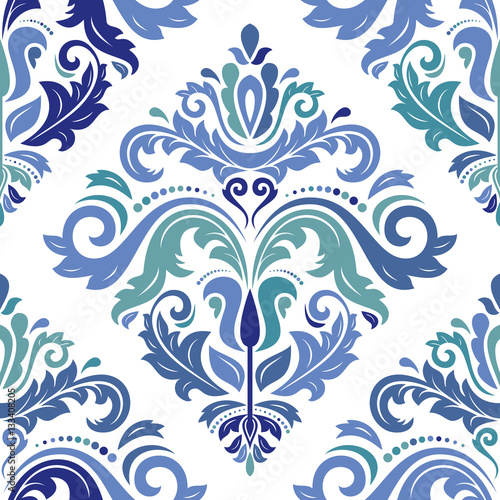 Oriental vector classic colored pattern. Seamless abstract background with repeating elements. Orient background - fototapety na wymiar