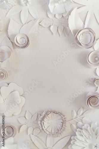 In de dag Bloemen 3d floral frame, white paper flowers