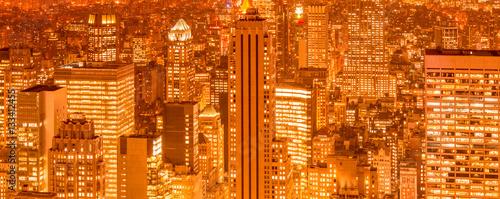 Fototapeta Widok na Nowy Jork Manhattan w godzinach wieczornych panoramiczna