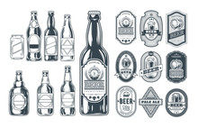 Set Of Icons Beer Bottles And ...