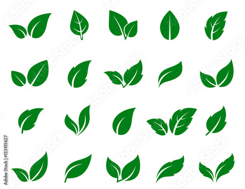 Green Leaf Icons Set Buy This Stock Vector And Explore