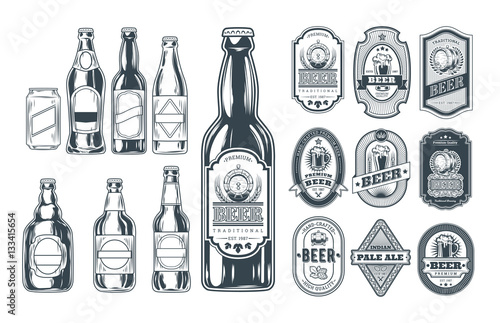 Set of icons beer bottles and label them Wallpaper Mural