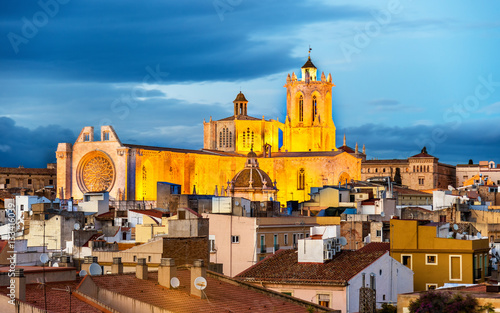 Cathedral of Tarragona in the evening. Catalonia, Spain
