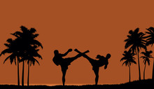 Illustration Of Two People Engaged In Martial Arts On The Beach.