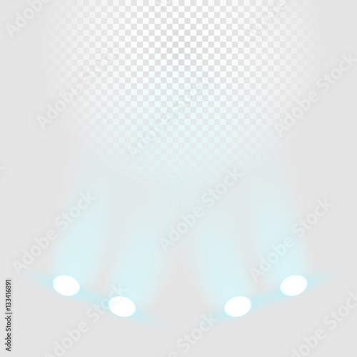 Valokuva  Brighting stage with color projectors vector template