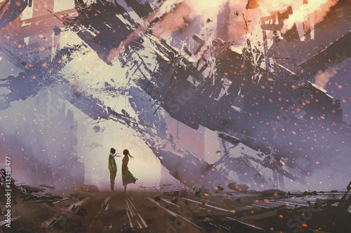 man and woman standing against collapsing buildings city,illustration painting Fototapete