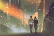 Leinwandbild Motiv couple in love walking on street of city,illustration painting