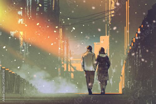 zakochana para spacerująca po ulicy miasta, malarstwo ilustracyjne