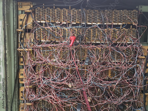 inside telephone wiring cabinet in thailand buy this stock photo Wiring Under Cabinet inside telephone wiring cabinet in thailand