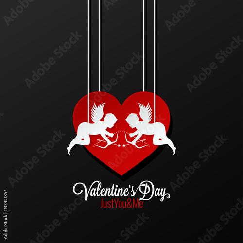 Fotografija Valentines Day Couple On Heart Background