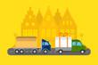 Delivery transport cargo logistic vector illustration.