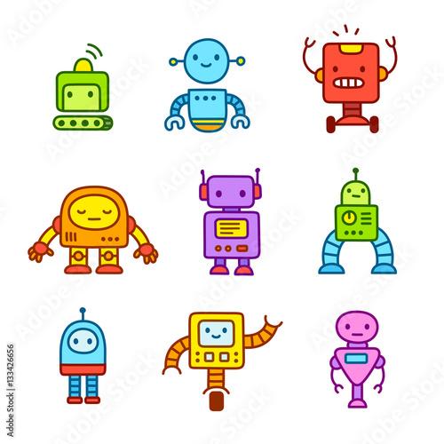 Deurstickers Robots Cartoon robots set.