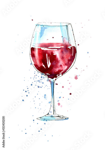 Glass of a red wine.Picture of a alcoholic drink.Watercolor hand drawn illustration.