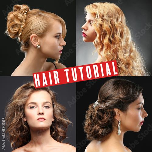 Zdjęcie XXL Kolaż fryzury kobiet. Tekst HAIR TUTORIAL na tle