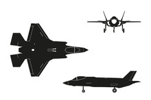 Black Silhouette Of Military Aircraft On White Background. Top,