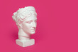 Leinwanddruck Bild - Marble head of young woman, ancient Greek goddess bust isolated on pink background with space for text.