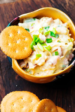 Cheese Bacon Dip With Crackers.