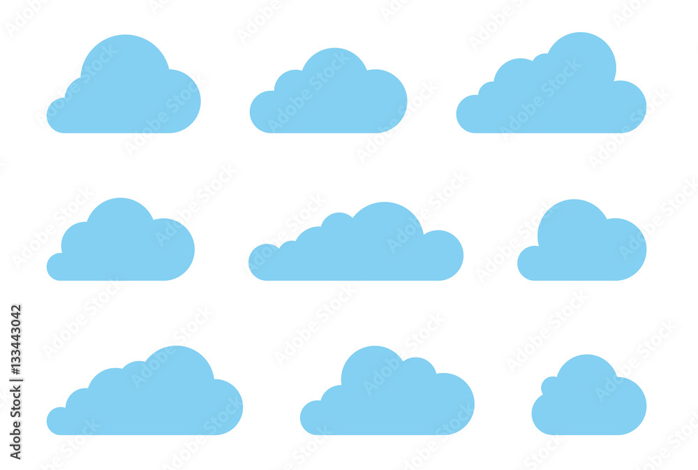 Fototapety, obrazy: Cloud shapes design vector set. Data technology icons pack