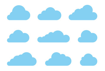 Cloud shapes design vector set. Data technology icons pack
