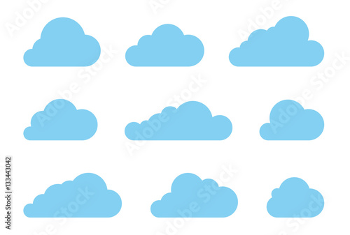 Obraz Cloud shapes design vector set. Data technology icons pack - fototapety do salonu